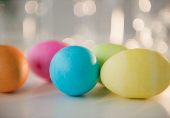 Colored Easter eggs, studio shot